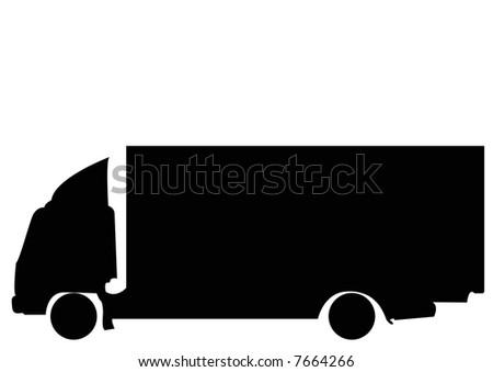 black silhouette of truck - stock photo