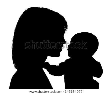 black silhouette of young mother holding in her hands her newborn child smiling to each other