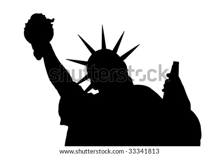 Black silhouette on a white background of the Statue of Liberty - stock photo