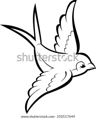 Black silhouette outline flying swallow, isolated on white. Tattoo illustration. - stock photo