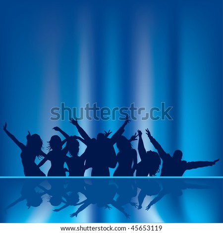 Black silhouette people on blue background