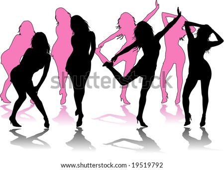 black silhouette sexy girl on white background