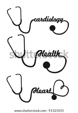 black silhouette stethoscope isolated illustration - stock photo