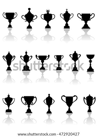 Black silhouette trophy icons in different shapes, some with lids, on a reflective white background