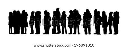 black silhouettes a long queue of people standing outdoor with cold weather - stock photo
