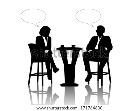black silhouettes of a businessman and a businesswoman seated at the table drinking coffee and talking, vacant text bubbles above them - stock photo