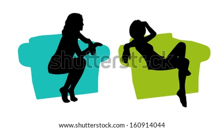 black silhouettes of a young beautiful relaxed woman seated in a lounge colored armchair - stock photo