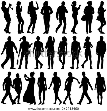 Black silhouettes of beautiful mans and womans on white background.  illustration. - stock photo