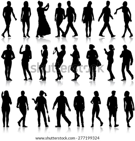 Black silhouettes of beautiful men and women on white background.  illustration.
