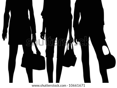 black silhouettes of female midsection and handbags - stock photo