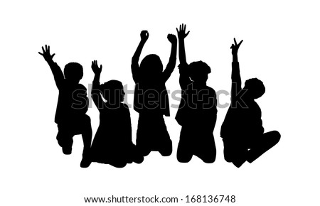 black silhouettes of five children about age 7-10 seated in a row on the floor face to the onlooker in different postures their hands in the air - stock photo
