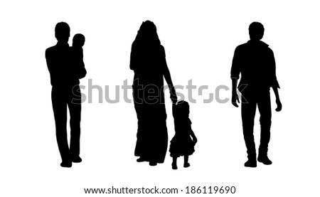 black silhouettes of indian men and woman with a little girl walking, back view - stock photo