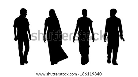 black silhouettes of indian men and women walking, front view