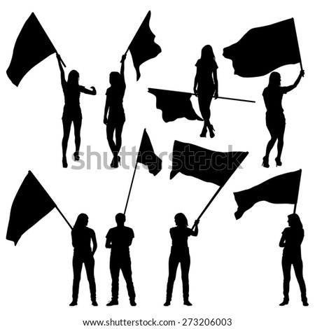 Black silhouettes of  mans and womans with flags on white background.  illustration.