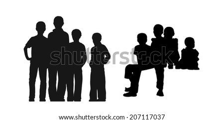 black silhouettes of medium group of gamins about age 5-8 seated and standing together