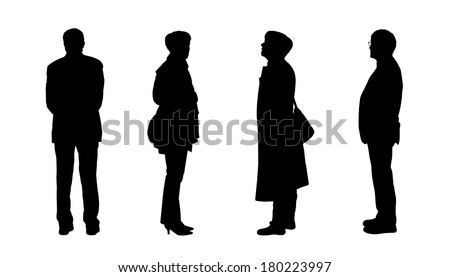 black silhouettes of men and a women of old age standing - front, back and profile views