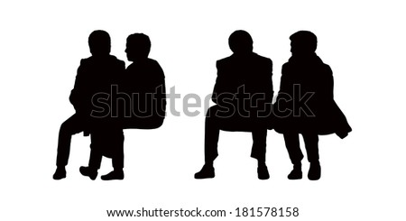 black silhouettes of old couples seated outdoor and talking, front view - stock photo