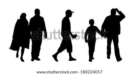 black silhouettes of ordinary men of different ages in couple and with children walking outdoor; front and profile views