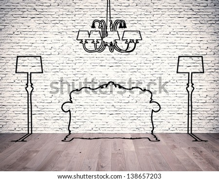 Black silhouettes of the furniture line before white brick wall