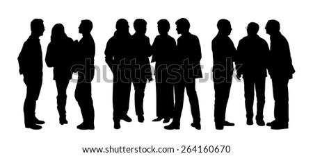 black silhouettes of three groups of different people standing and talking to each other - stock photo