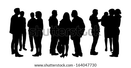black silhouettes of three small groups of people standing and talking to each other, back and profile views - stock photo