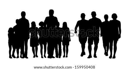 black silhouettes of two big groups of people of different sex and age walking in the street, front view - stock photo