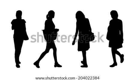 black silhouettes of young asian women of different age walking outdoor, front, back and profile views - stock photo