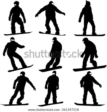 Black silhouettes set snowboarders on white background.  illustration.