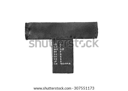 Black silk clothes label on white background