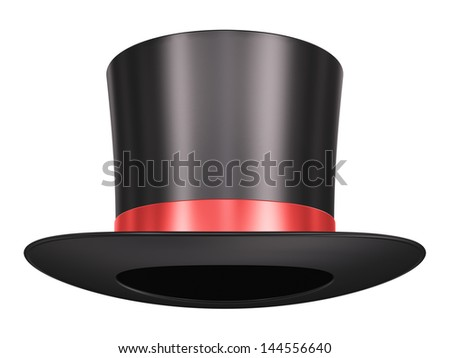 Black silk magic hat with red ribbon isolated on white background - stock photo