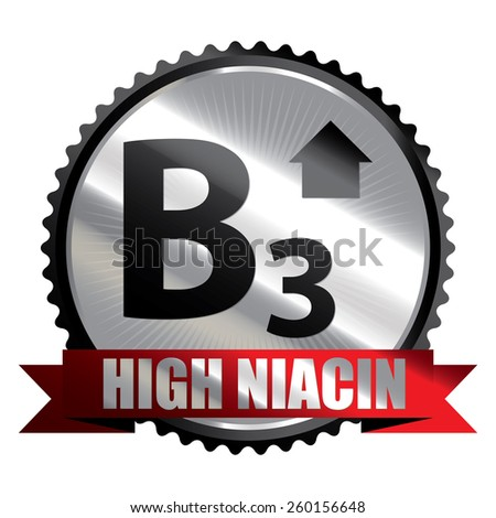 Black Silver High Niacin B3 Vitamin Ribbon, Badge, Icon, Sticker, Banner, Tag, Sign or Label Isolated on White Background - stock photo