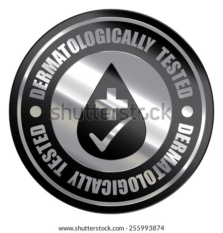 Black Silver Metallic Circle Dermatologically Tested Icon, Label, Banner, Tag or Sticker Isolated on White Background  - stock photo