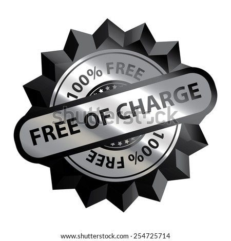 Black Silver Metallic Free of Charge 100% Free Icon, Label, Sign or Sticker Isolated on White Background  - stock photo
