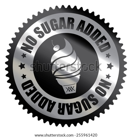 Black Silver Metallic No Sugar Added Ice Cream Badge, Icon, Label, Banner, Tag or Sticker Isolated on White Background  - stock photo