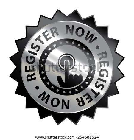 Black Silver Metallic Register Now Icon, Label or Sticker Isolated on White Background  - stock photo