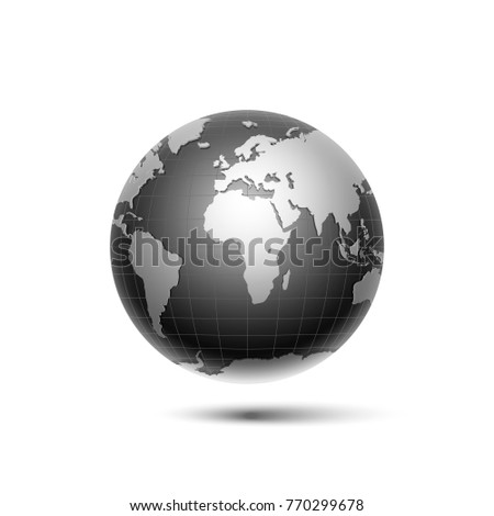 black, silver surround the globe planet earth