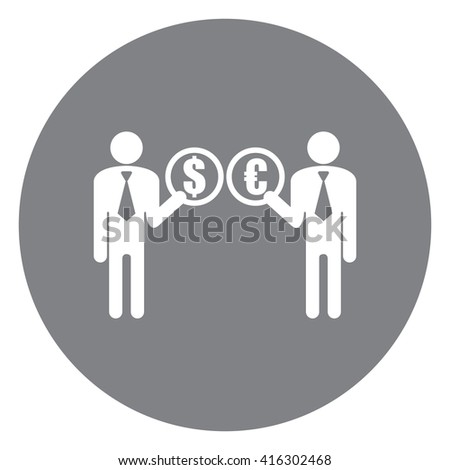 Black Simple Circle Businessman With Currency Exchange Service Infographics Flat Icon, Sign Isolated on White Background  - stock photo