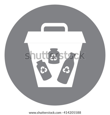 Black Simple Circle Glass Recycle Bin Infographics Flat Icon, Sign Isolated on White Background - stock photo