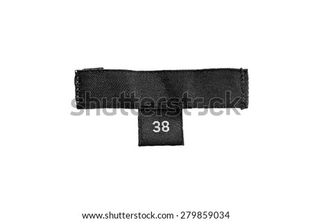 Black 38 size label isolated over white