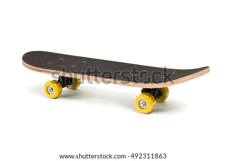 Black skateboard isolated against a white background.