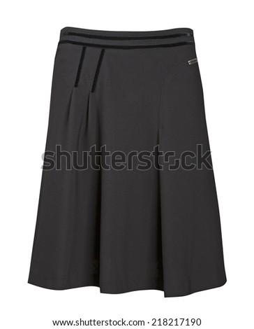 black skirt isolated on white background - stock photo