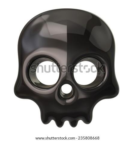 Black skull icon isolated on white background - stock photo