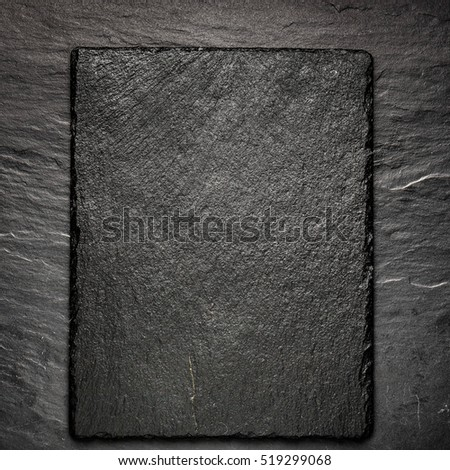 black slate board for serving with copy space, top view