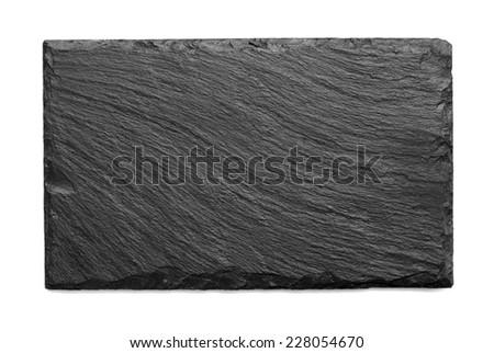 black slate roof tile isolated - stock photo