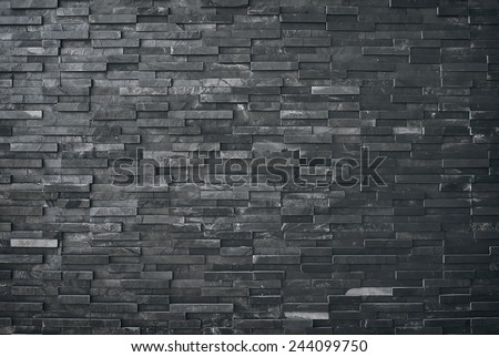 Black slate wall texture and background, old  vintage - stock photo
