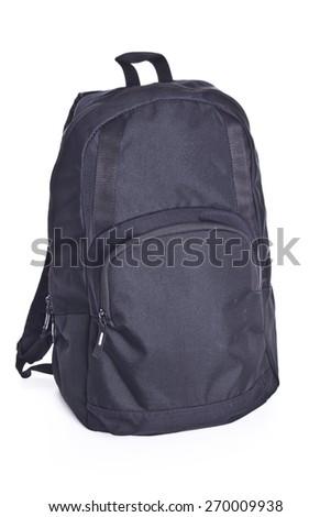 Black sling bag isolated on white - stock photo
