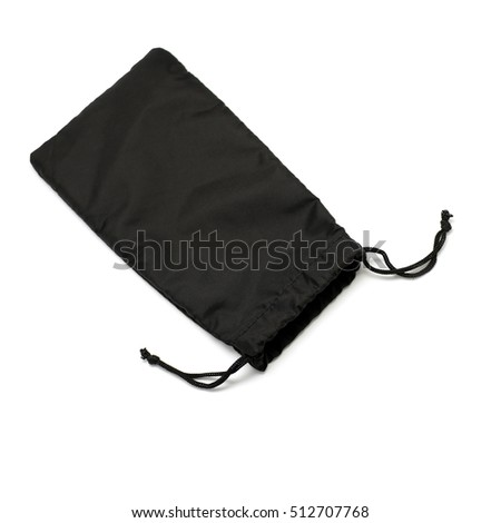 black small fabric pouch isolated on white background