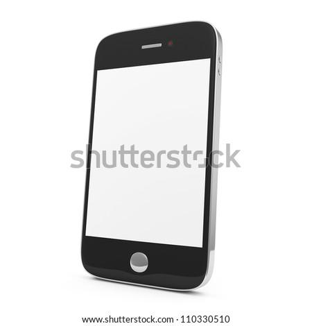 Black Smart Phone isolated on white background - stock photo