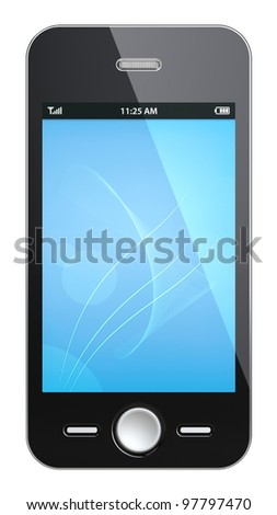 Black Smart phone. Smart phone with Blue Screen. Isolated