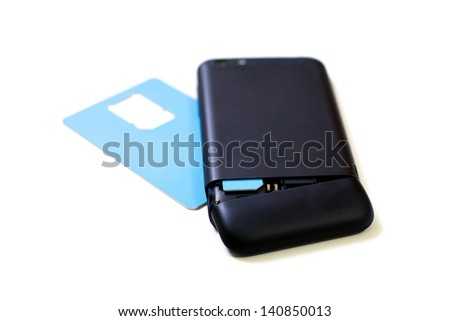 Black smart phone with newly inserted blue SIM Card.
